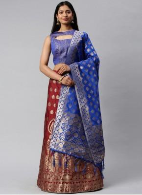 Banarasi Silk Weaving Lehenga Choli in Blue and Maroon