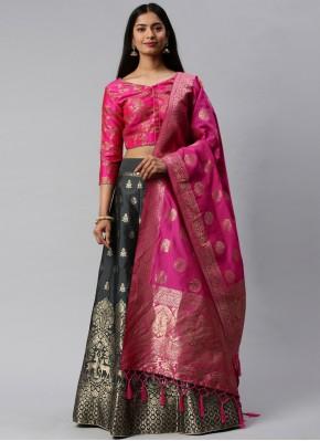 Banarasi Silk Weaving Lehenga Choli in Grey and Hot Pink