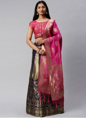 Banarasi Silk Weaving Lehenga Choli in Hot Pink and Navy Blue