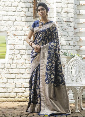 Banarasi Silk Weaving Navy Blue Designer Traditional Saree