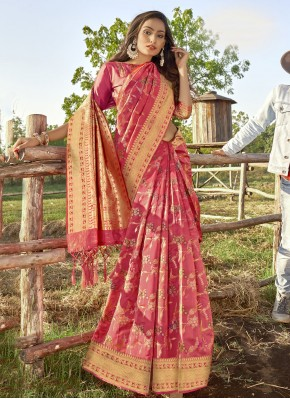 Banarasi Silk Weaving Pink Traditional Designer Saree