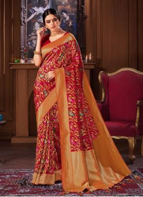 Banarasi Silk Weaving Red Designer Traditional Saree