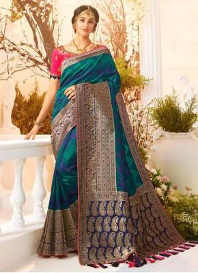 Banarasi Silk Weaving Teal Trendy Saree