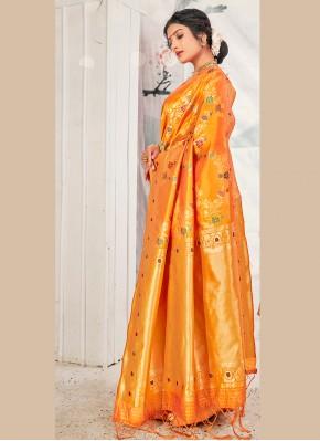 Banarasi Silk Weaving Yellow Traditional Designer Saree