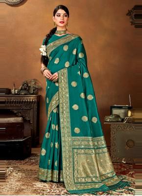 Banarasi Silk Woven Designer Traditional Saree in Rama