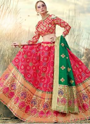 Baronial Embroidered Pink Banarasi Silk A Line Lehenga Choli