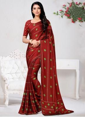 Baronial Faux Chiffon Print Red Traditional Saree