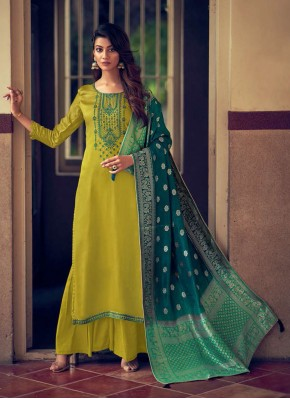 Baronial Silk Embroidered Designer Palazzo Salwar Suit