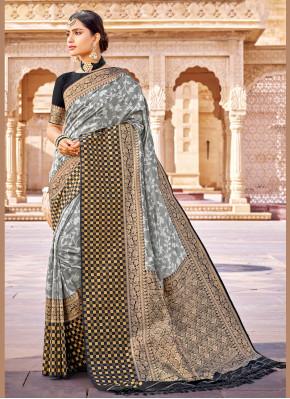 Baronial Weaving Grey Banarasi Silk Designer Saree