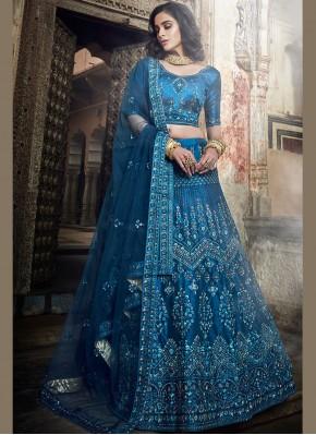 Beauteous Art Silk Zari Blue Lehenga Choli