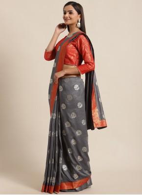 Beauteous Foil Print Grey Traditional Saree