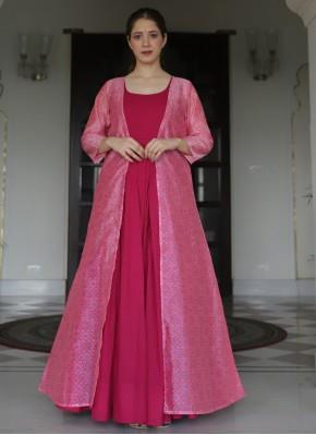 Beauteous Print Hot Pink Party Wear Kurti