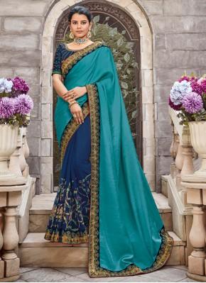 Beauteous Zari Blue Georgette Satin Designer Saree