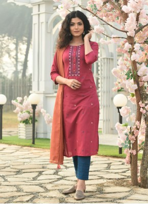 Beautiful Embroidered Pink Readymade Suit