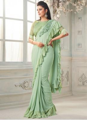 Beautiful Green Fancy Silk Classic Designer Saree