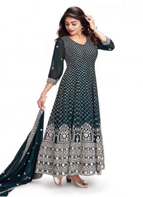 Beautiful Hand Embroidery Chiffon Anarkali Suit