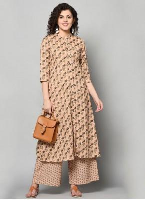 Beautiful Printed Brown Cotton Party Wear Kurti