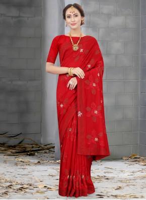Beautiful Red Traditional Saree