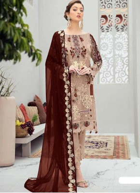 Beautiful Stone Work Net Designer Pakistani Salwar Suit