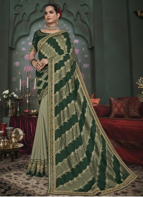 Beckoning Fancy Fabric Green Embroidered Half N Half  Saree