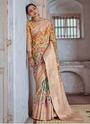 Beckoning Print Multi Colour Silk Classic Saree