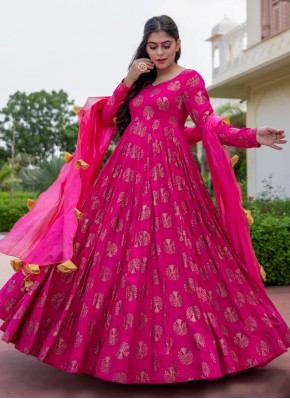 Beckoning Rayon Hot Pink Foil Print Readymade Suit