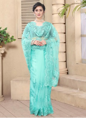 Bedazzling Embroidered Net Aqua Blue Bollywood Saree