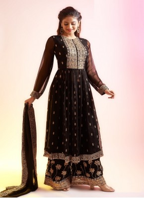 Bedazzling Palazzo Suit Hand Embroidery in Chiffon