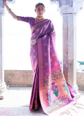 Bedazzling Purple Weaving Silk Designer Saree