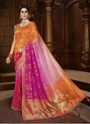 Bedazzling Weaving Silk Multi Colour Trendy Saree