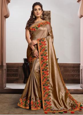 Beige and Gold Festival Classic Designer Saree
