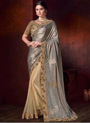 Beige and Grey Embroidered Fancy Fabric Designer Half N Half Saree