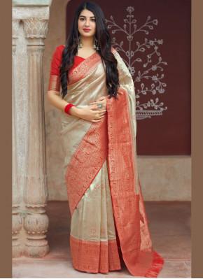 Beige Ceremonial Art Silk Traditional Saree