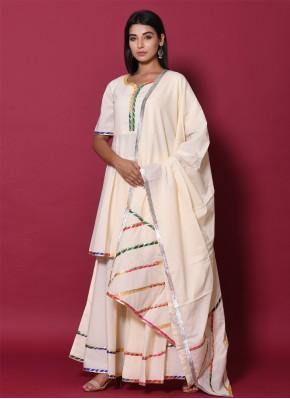 Beige Cotton Block Print Readymade Salwar Kameez