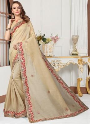 Beige Embroidered Traditional Designer Saree