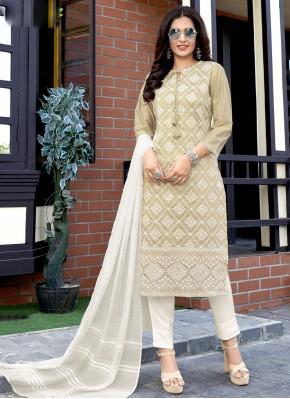 Beige Fancy Fabric Weaving Readymade Suit
