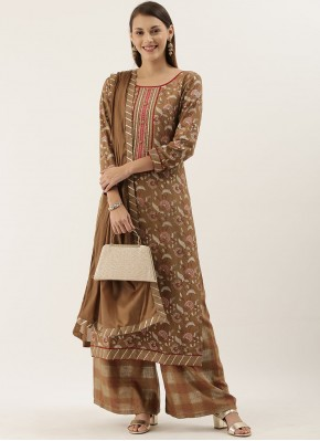 Beige Faux Chiffon Ceremonial Designer Pakistani Suit