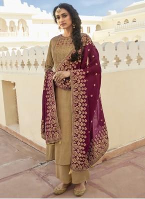 Beige Festival Cotton Designer Pakistani Suit