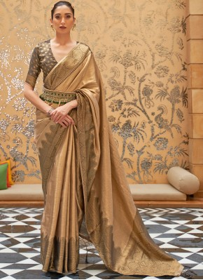 Beige Festival Silk Designer Traditional Saree