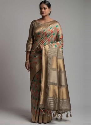 Beige Festival Tussar Silk Traditional Saree