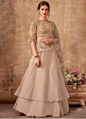Beige Georgette Silk Designer Double Layered Lehenga Saree with Embroidered Blouse