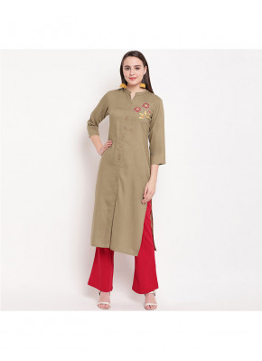 Beige Handwork Rayon Party Wear Kurti
