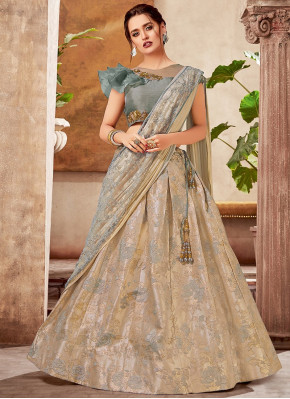 Beige Jacquard Zari Worked Lehenga Saree with Designer Blouse