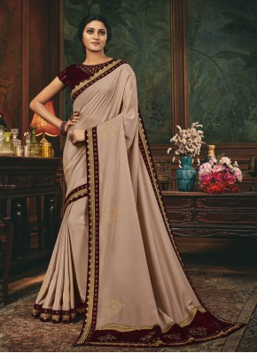 Beige Mehndi Silk Designer Traditional Saree