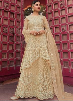Beige Net Designer Pakistani Salwar Suit
