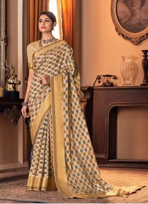 Beige Printed Silk Traditional Saree