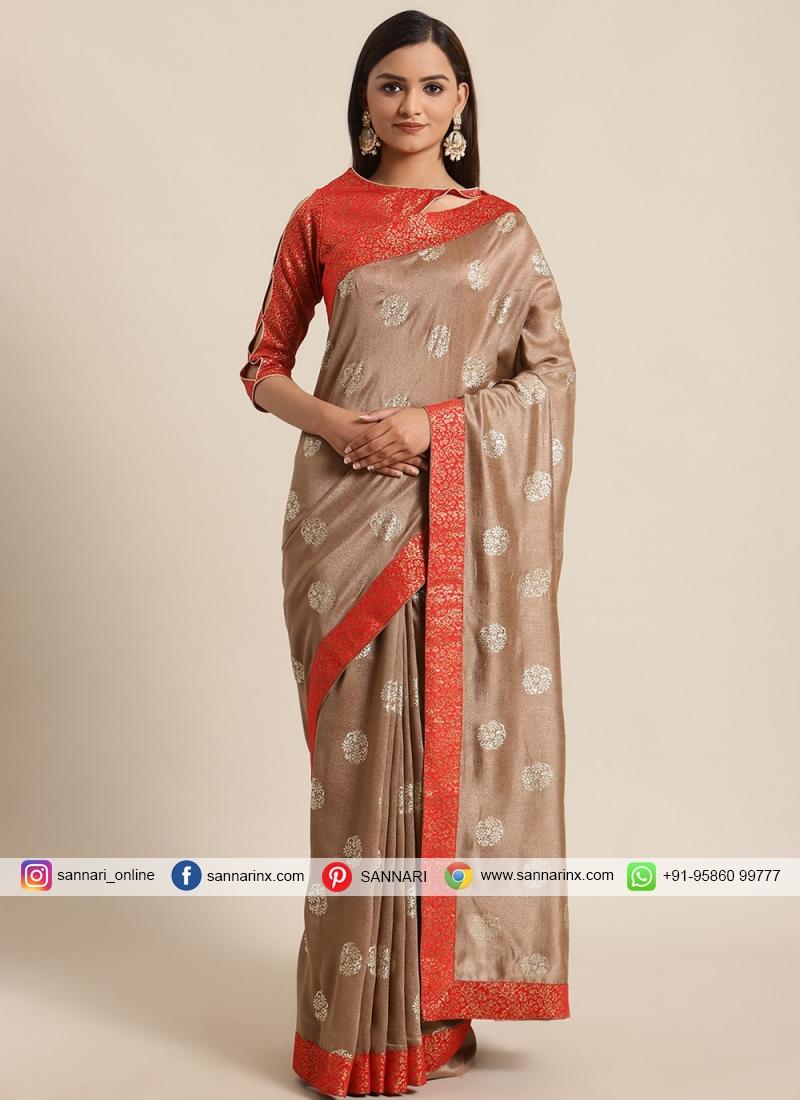 Beige Silk Festival Traditional Saree