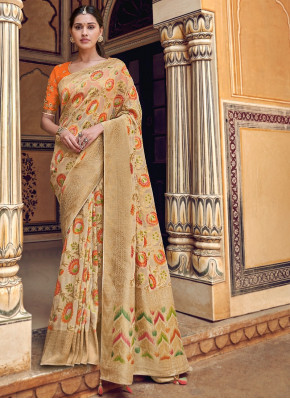 Beige Silk Floral Woven Saree with Zari Border and