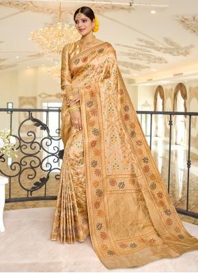Beige Weaving Ceremonial Traditional Designer Saree