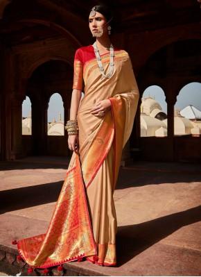 Beige Weaving Traditional Designer Saree